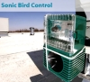 Bird-X Sonic Bird Control. Devices broadcast threatening recordings, telling birds to stay away.
